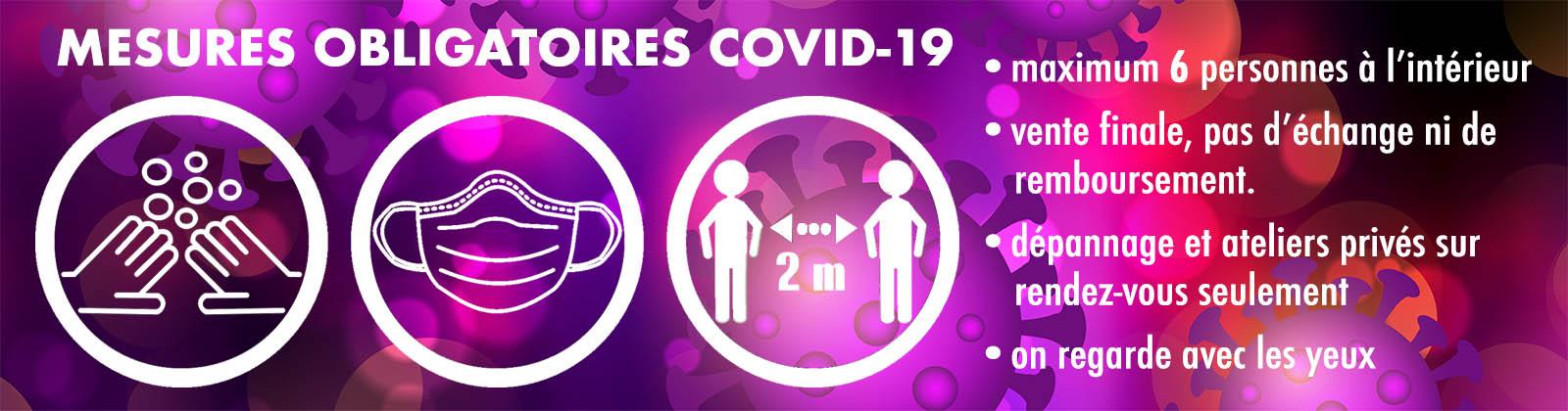 Bandeau avec directives pour la Covid-19